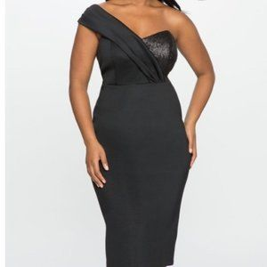 Eloquii One Shoulder Matte Sequin Panel Midi Cocktail Dress Black Size 16